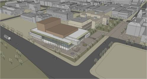 Two concepts for a new performing arts centre are shown.