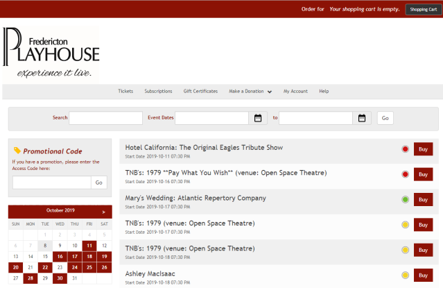 Fredericton Playhouse Website